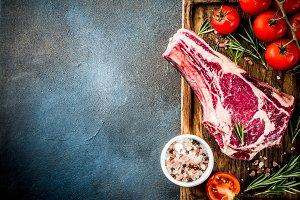 Raw rib eye beef steak