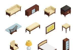 Luxury interior isometric elements