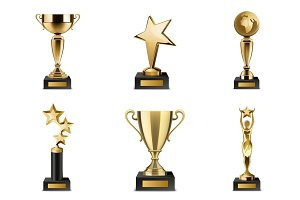 Trophy cups and awards realistic set
