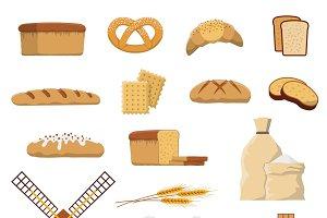 Bread bakery icons set