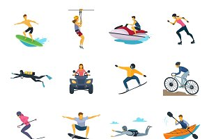 Extreme sport activities flat icons