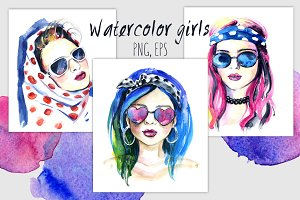 Watercolor fashion girls