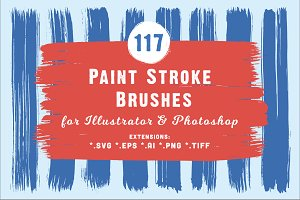 117 Paint Stroke Brushes *.ai *.abr