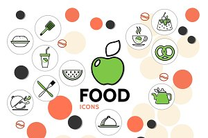 Food line icons collection