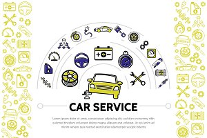 Car service line icons composition