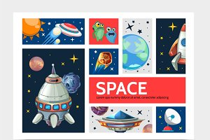 Cartoon space infographic template