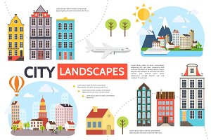 Flat cityscape infographic template
