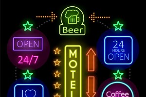 Advertising neon signs concept