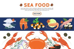 Flat sea food icons set