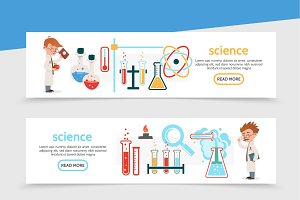 Flat science horizontal banners