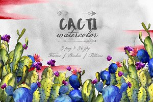 Cacti watercolor PNG set