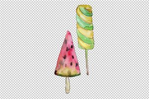Watercolor mix cool ice cream PNG