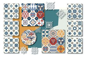 Big Set of Azulejio TILE Patterns.