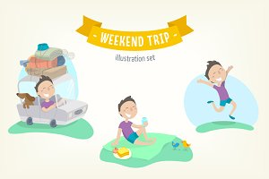 Weekend trip. Flat illustration set