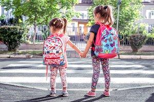 Children go to school, happy student