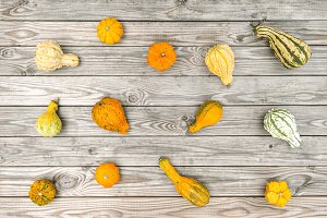Pumpkin rustic wooden background Aut