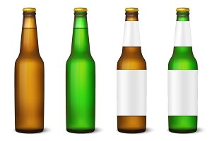 Beer bottle. Vector set.