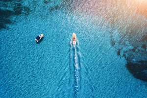 Aerial view of luxury floating boat