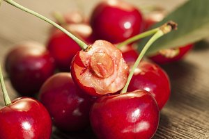 red ripe cherries