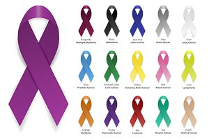 Awareness ribbon. Vector set.