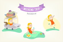 Weekend trip. Flat illustration set