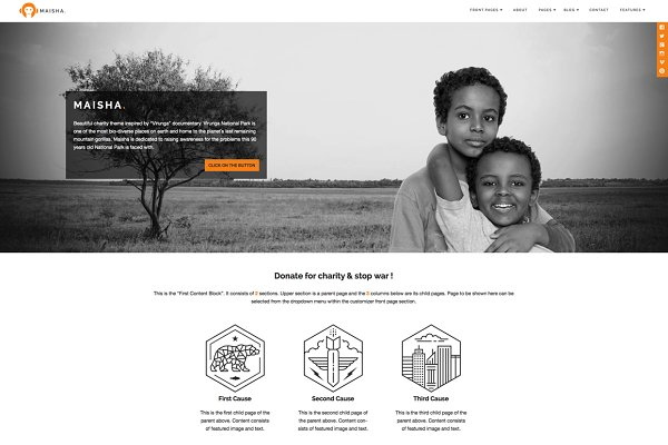 WordPress Non-Profit Themes: Anariel Design - Maisha - Charity WordPress Theme
