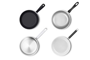 Frying pan. Vector set.