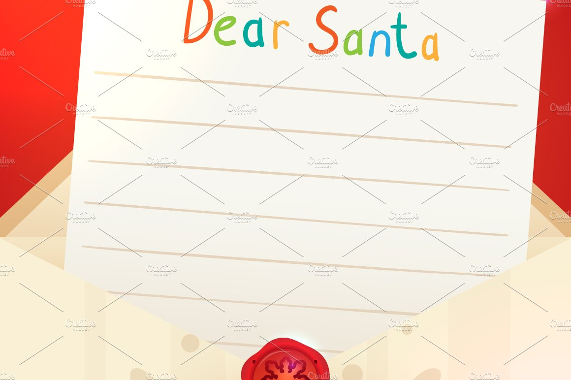 Christmas letter to Santa Claus ~ Card Templates ~ Creative Market