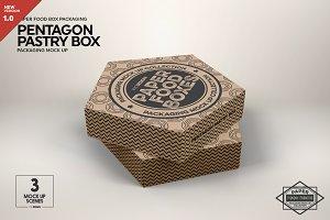 Pentagon Pastry Box Mockup