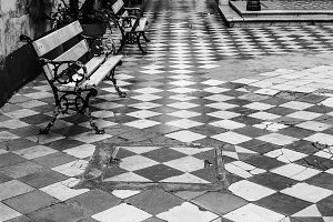 Vintage Patio in Black and White