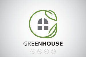 Green House The Leaf Logo Template