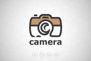 Moon Camera Photograph Logo Template