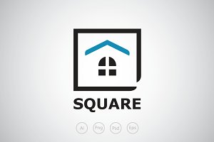 Square House Logo Template