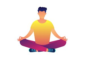 Office worker sitting in lotus pose
