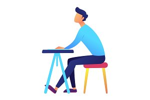 Male student sitting at desk vector