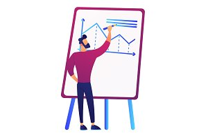 Businessman drawing growth chart on