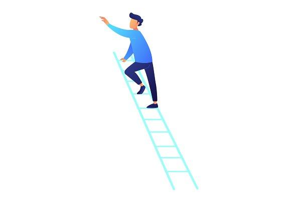 Businessman climbing up the ladder