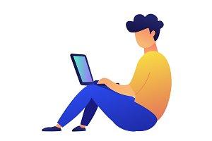 Freelancer sitting on the floor