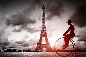 Man on retro bike in Paris