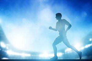 Man running on the stadium