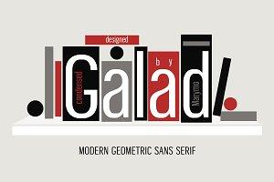 Condensed sans serif Galad. Cyrillic