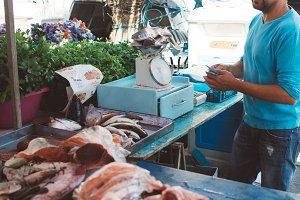 Stall at fish market