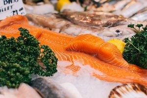 Sea bass fillets at fish market