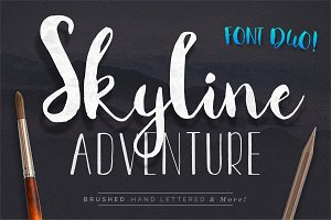 Font Duo Skyline Adventure Brushed