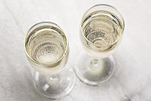 two glasses of champagne in a close-