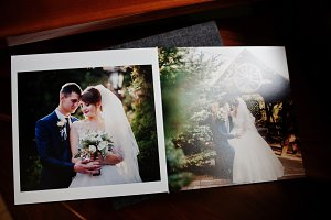 Pages of grey wedding photo book or