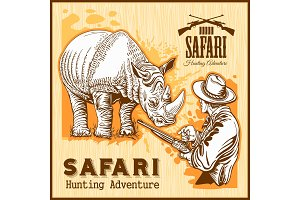 Rhino Hunting - banner with african