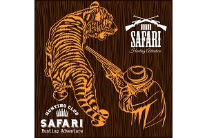 African safari - tiger hunting retro