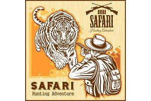 African safari - tiger hunting retro