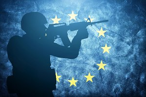 Soldier silhouette on EU flag
